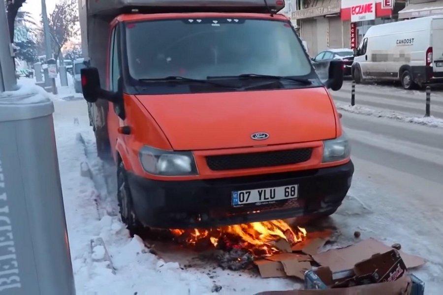 auto-starten-met-kamp-vuur-rusland-video